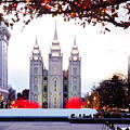 SLC Temple Red and White Print by La Rae  Roberts