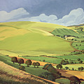 Small Green Valley Print by Anna Teasdale