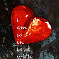 So In Love With You - Romantic Red Heart Painting Print by Sharon Cummings