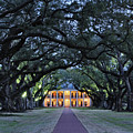 Southern Manor Home at Night Print by Jeremy Woodhouse