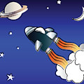 Space travel Print by Jane Rix