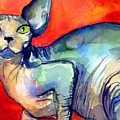 Sphynx Cat 6 painting Print by Svetlana Novikova