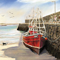 Spiddal harbour Poster by Vanda Luddy