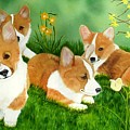 Spring Corgis Poster by Debbie LaFrance