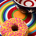 Sprinkled donut on circle plate with bowl Poster by Garry Gay