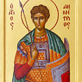 St Demetrios the Great Martyr and Myrrhstreamer Print by Julia Bridget Hayes