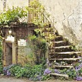 Stairway With Flowers Flavigny France Poster by Marilyn Dunlap