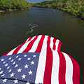 Stars and Stripes Flies Over the Delaware River Poster by George Oze