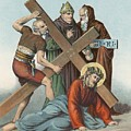 Station IX Jesus Falls under the Cross the Third Time Print by English School