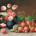Still life with fruit and flowers Print by William Buelow Gould