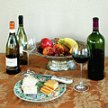STILL LIFE WITH WINE AND FRUIT cheese picture interior design decor Print by John Samsen
