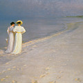 Summer Evening on the Skagen Southern Beach with Anna Ancher and Marie Kroyer Poster by Peder Severin Kroyer