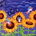 Sunflowers and Faeries Poster by Genevieve Esson