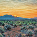 Sunrise over Taos Poster by Charles Muhle