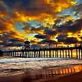 Sunset at Huntington Beach Pier Print by Peter Dang