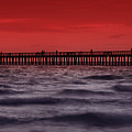 Sunset at Naples Pier Print by Melanie Viola