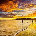 Sunset at the Coast Poster by Iris Greenwell