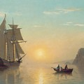 Sunset Calm in the Bay of Fundy Poster by William Bradford