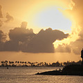 Sunset in San Juan Bay Poster by George Oze