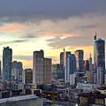Sunset Over  Makati City, Manila Print by Neil Howard
