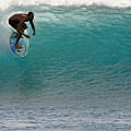 Surfer dropping in the blue waves at Dumps Maui Hawaii Poster by Pierre Leclerc Photography