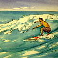 Surfer In The Sky Print by Pete Maier