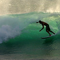 Surfer Surfing blue waves at Dumps Maui Hawaii Poster by Pierre Leclerc Photography