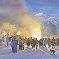 Taos Pueblo on Christmas eve Poster by Jane Grover
