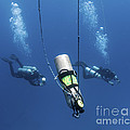 Technical Divers Ascend Near A Nitrox Print by Karen Doody