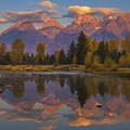 Teton Morning Mirror Poster by Joseph Rossbach