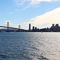 The Bay Bridge and The San Francisco Skyline Viewed From Treasure Island . 7D7771 Print by Wingsdomain Art and Photography