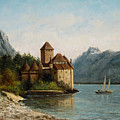 The Castle of Chillon Evening Print by Gustave Courbet