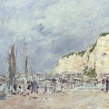 The Cliffs at Dieppe and the Petit Paris Print by Eugene Louis Boudin