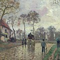 The Coach to Louveciennes Poster by Camille Pissarro