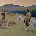 The Conversation Print by Frederic Remington