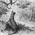 The Crow and the Fox Print by Gustave Dore