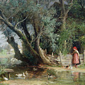 The Duck Pond Print by Eduard Heinel
