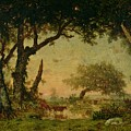 The Edge of the Forest at Fontainebleau Poster by Theodore Rousseau
