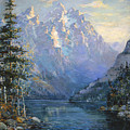 The Grand Tetons and Jenny Lake Poster by Lewis A Ramsey