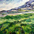 The Green Wheatfield behind the Asylum Print by Vincent van Gogh