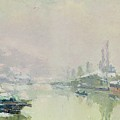 The Ile Lacroix under Snow Poster by Albert Charles Lebourg