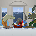 The Last Supper of Raptor Jesus Print by Greasy Moose