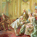 The presentation of the young Mozart to Mme de Pompadour at Versailles Print by Vicente de Parades