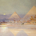 The Pyramids at dusk Print by Augustus Osborne Lamplough
