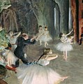 The Rehearsal of the Ballet on Stage Poster by Edgar Degas