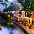 The River Walk Print by Lisa  Spencer
