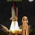 The Scream World Tour Space Shuttle Happy Birthday Print by Eric Kempson