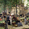 The Square in front of Les Halles Poster by Victor Gabriel Gilbert