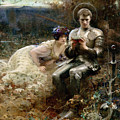 The Temptation of Sir Percival Print by Arthur Hacker