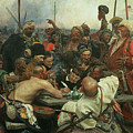 The Zaporozhye Cossacks writing a letter to the Turkish Sultan Poster by Ilya Efimovich Repin